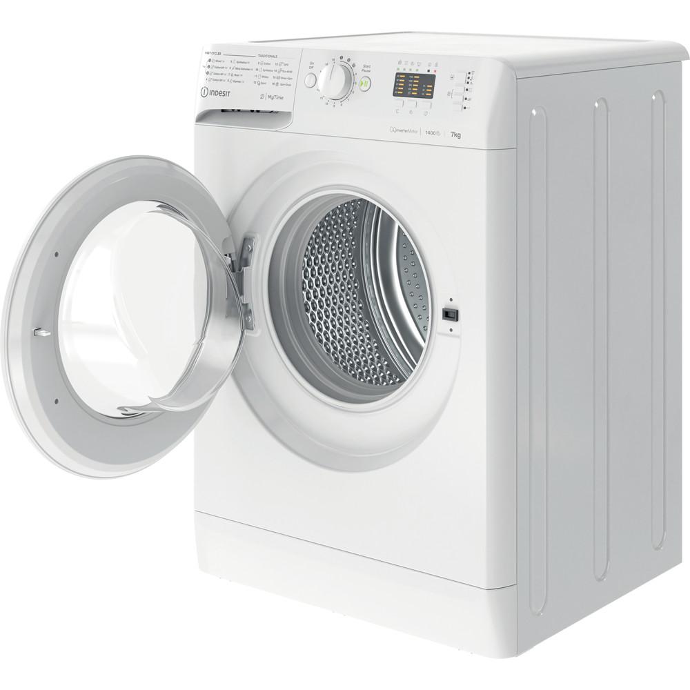 Indesit Vaskemaskine Fritstående MTWA 71484 W EE Hvid Frontbetjent C Perspective open