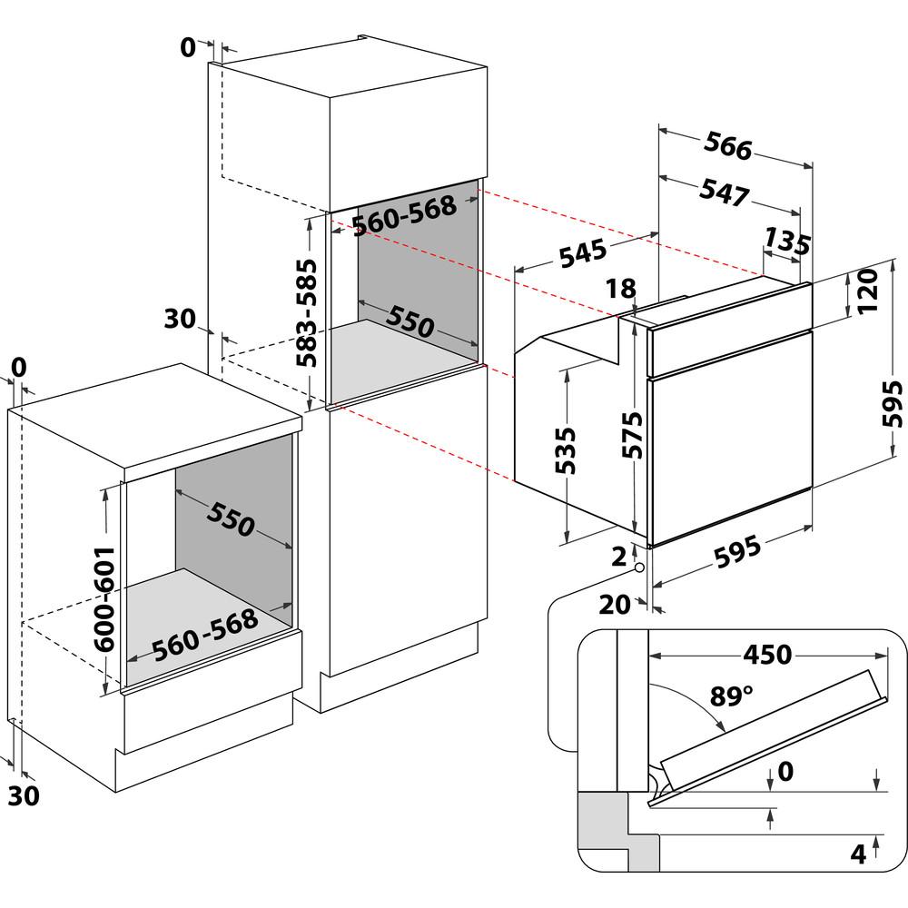 Indesit Forno Da incasso IVF 32 IX Elettrico A Technical drawing