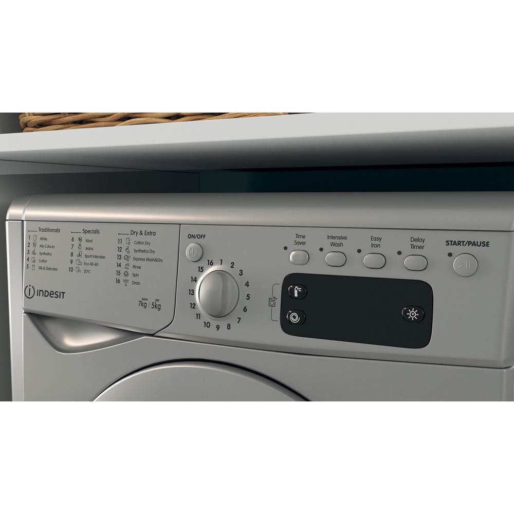 Indesit Washer dryer Free-standing IWDD 75145 S UK N Silver Front loader Lifestyle control panel
