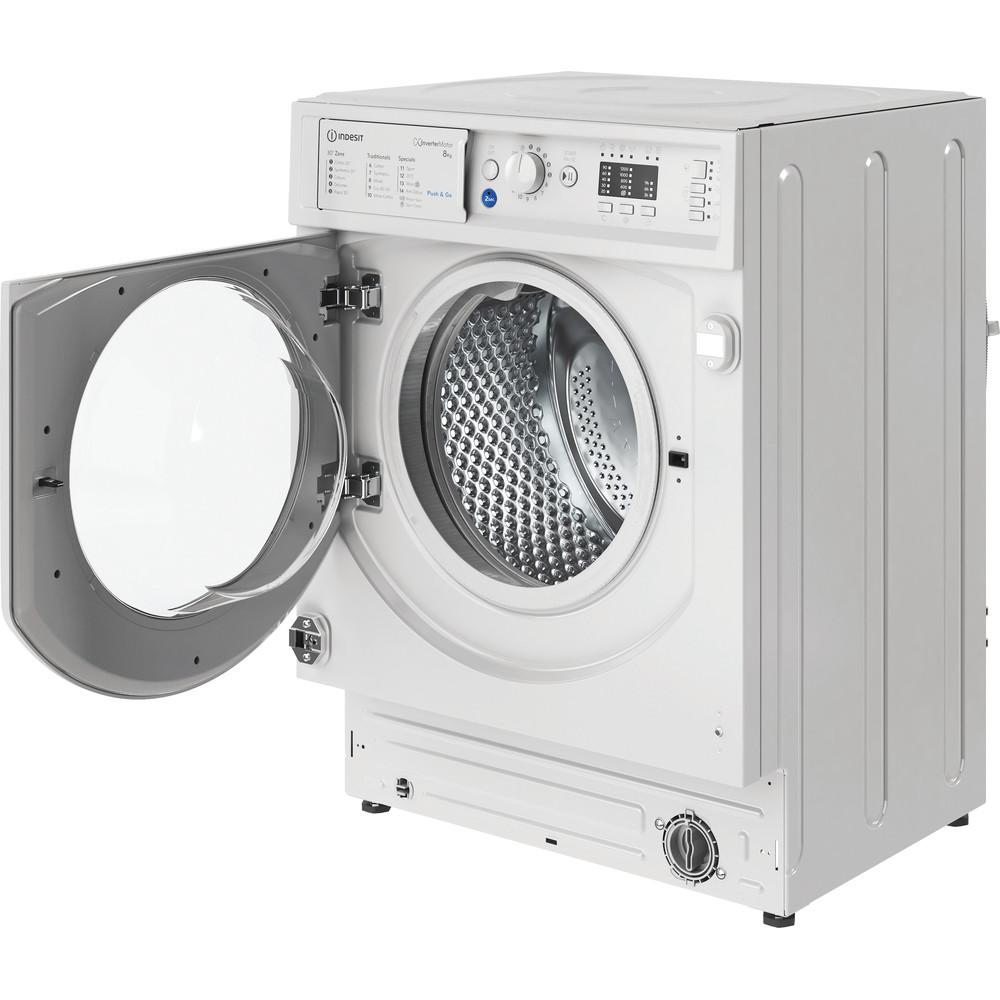 Indesit Washing machine Built-in BI WMIL 81284 UK White Front loader C Perspective open