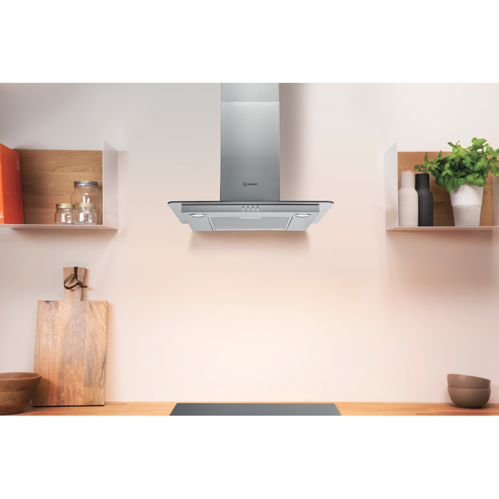 Indesit HOOD Built-in IHF 6.5 LM X Inox Wall-mounted Mechanical Lifestyle frontal