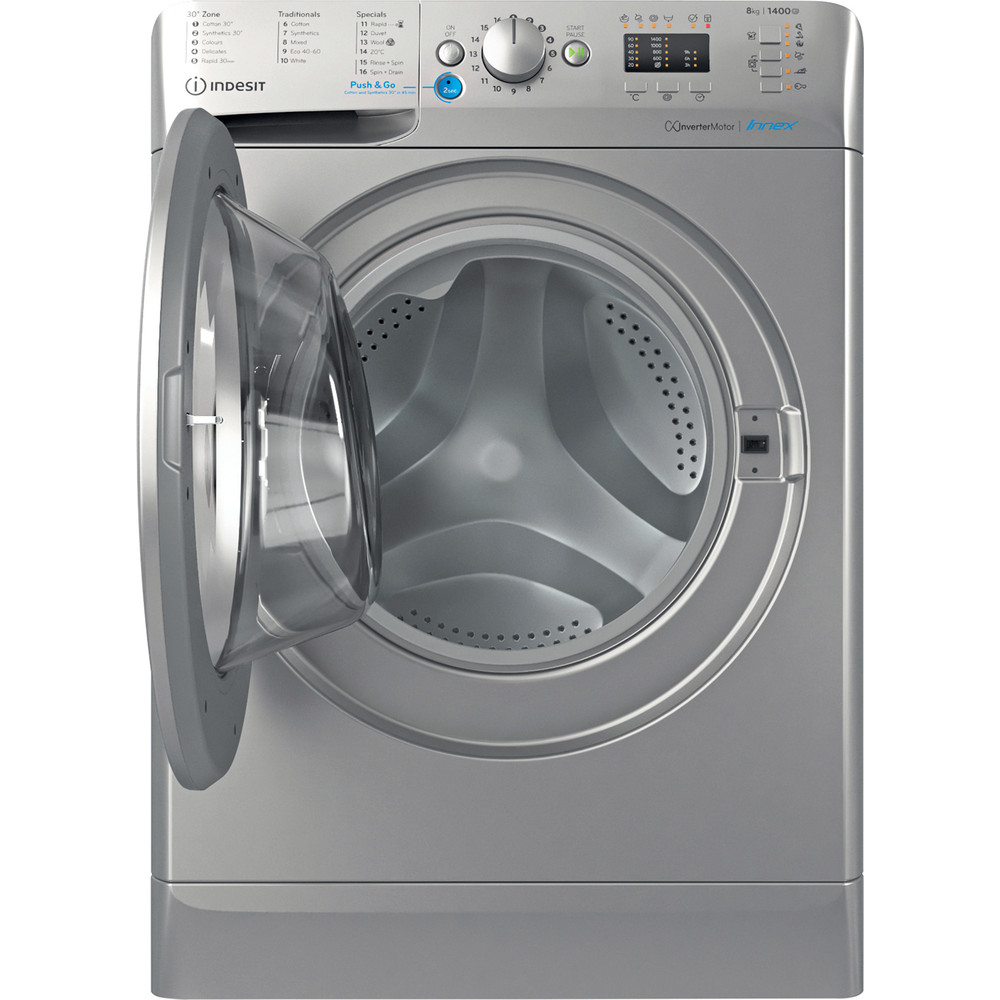 Indesit Washing machine Free-standing BWA 81483X S UK N Silver Front loader D Frontal open