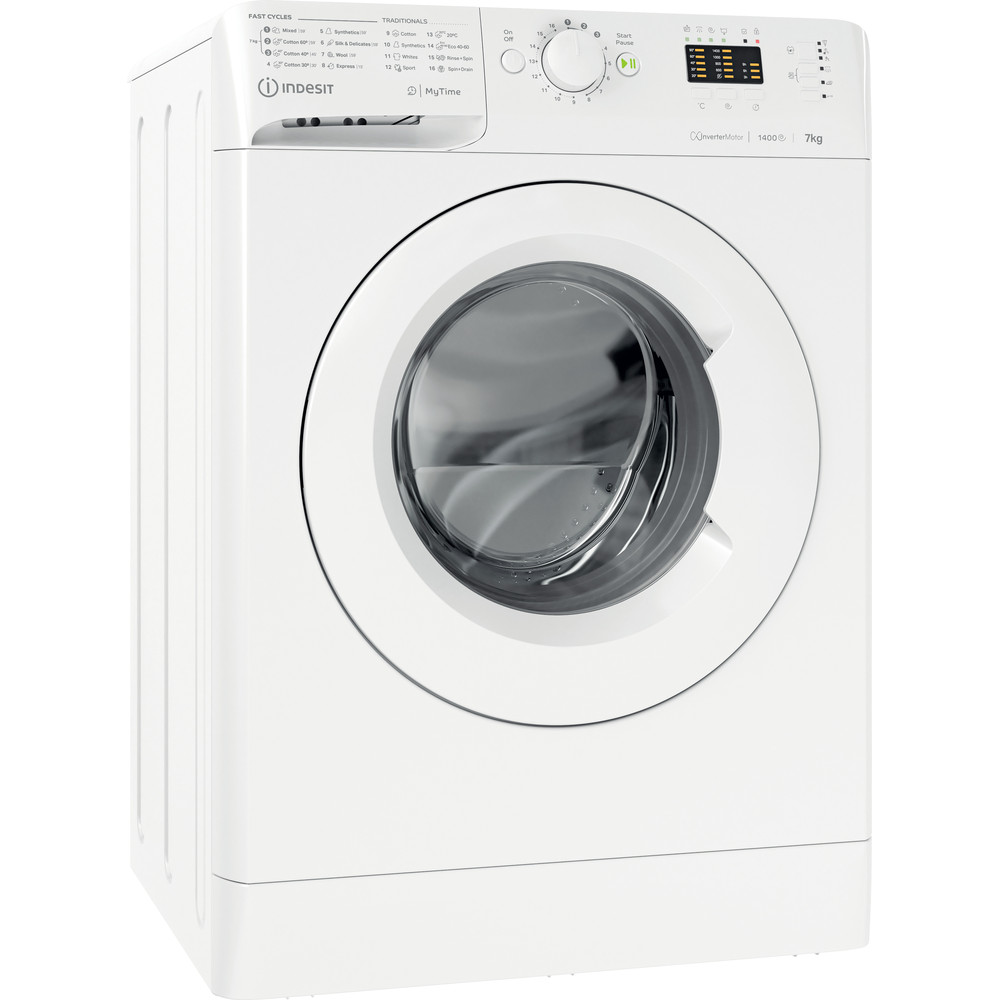 Indesit Vaskemaskine Fritstående MTWA 71484 W EE Hvid Frontbetjent C Perspective