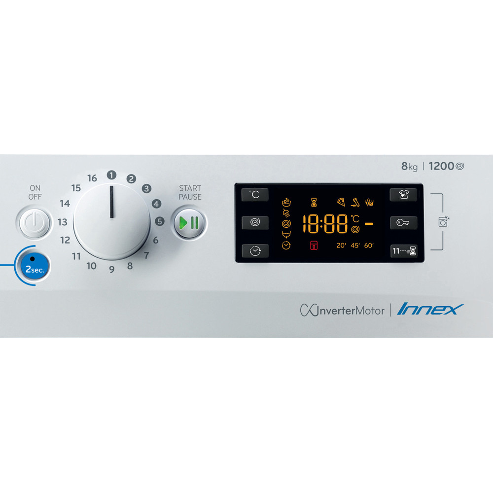 Indesit Pračka Volně stojící BWE 81284X W EE N Bílá Front loader C Control panel