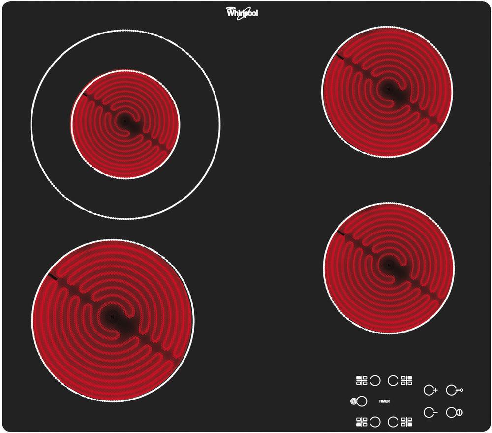 Whirlpool Főzőlap AKT 8130/NE Fekete Radiant vitroceramic Frontal