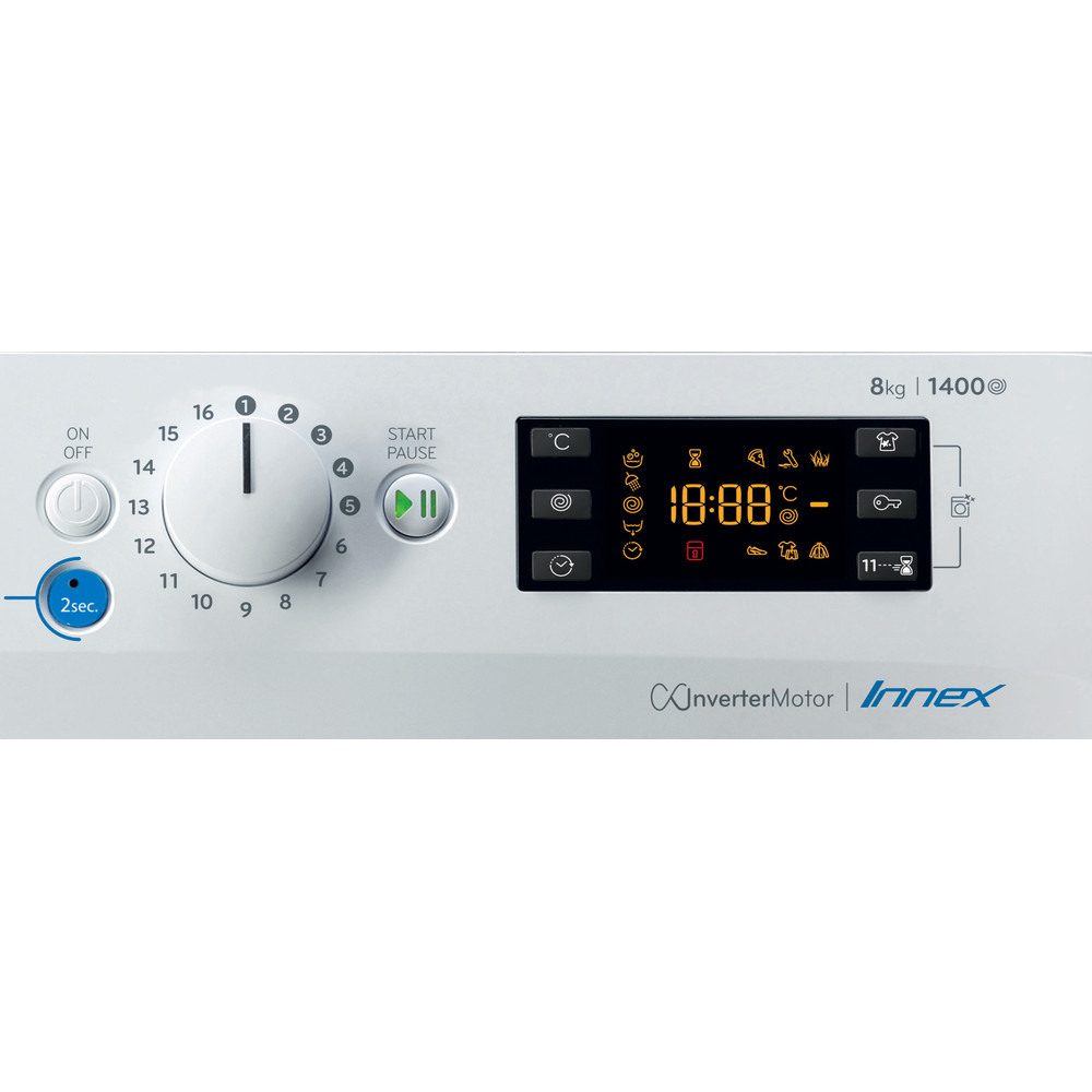 Indesit Máquina de lavar roupa Livre Instalação BWE 81484X WS SPT N Branco Carga Frontal C Control panel