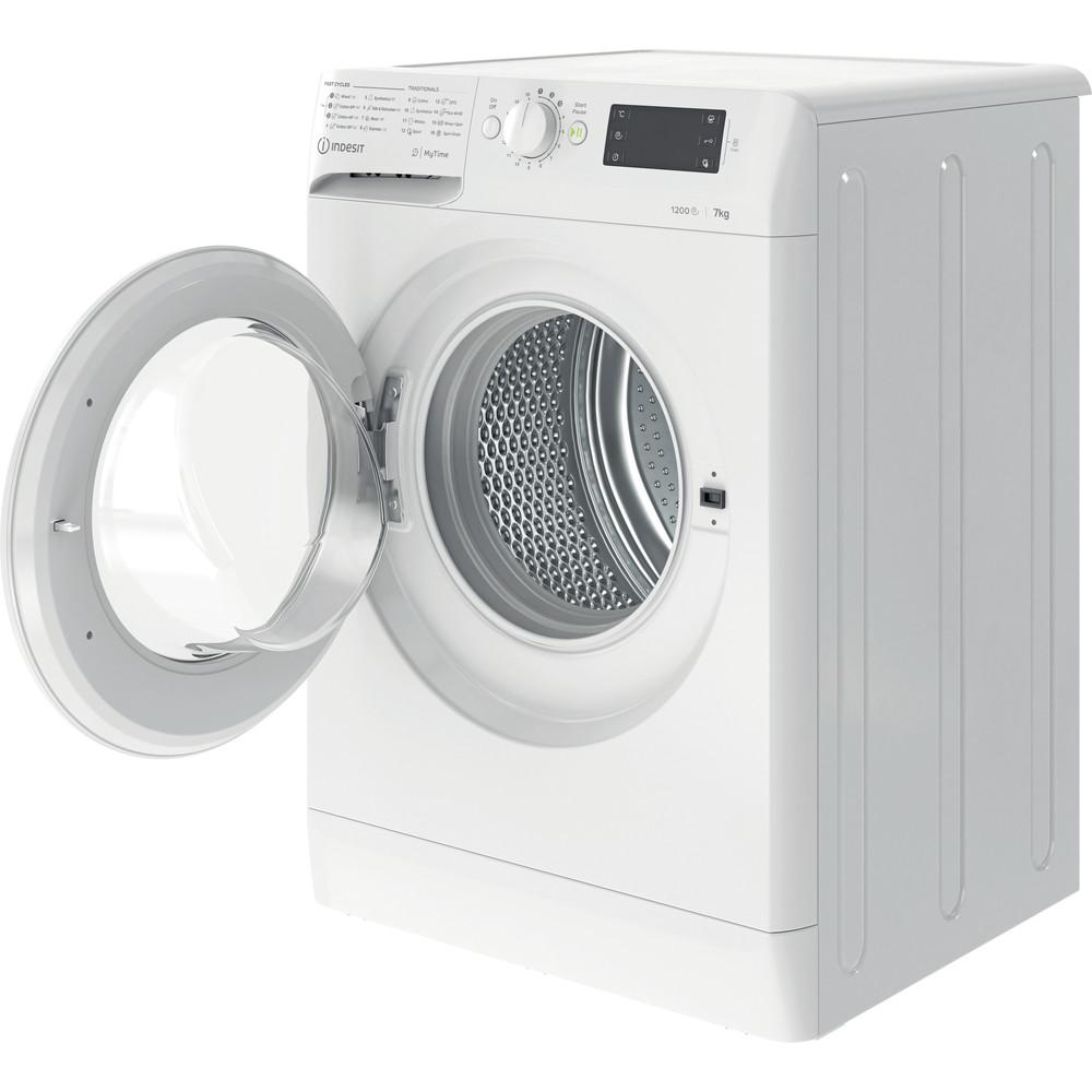 Indsit Maşină de spălat rufe Independent MTWE 71252 W EE Alb Încărcare frontală A +++ Perspective open