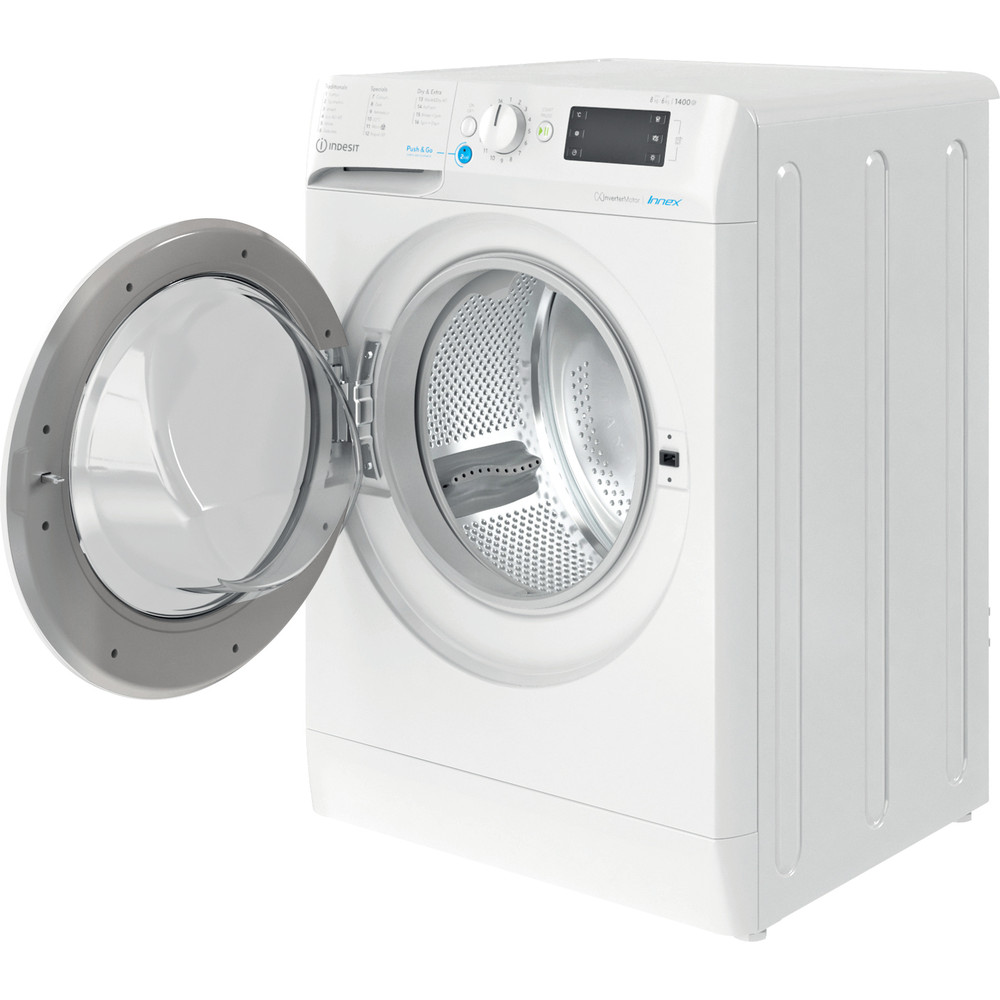 Indesit Washer dryer Free-standing BDE 861483X W UK N White Front loader Perspective open