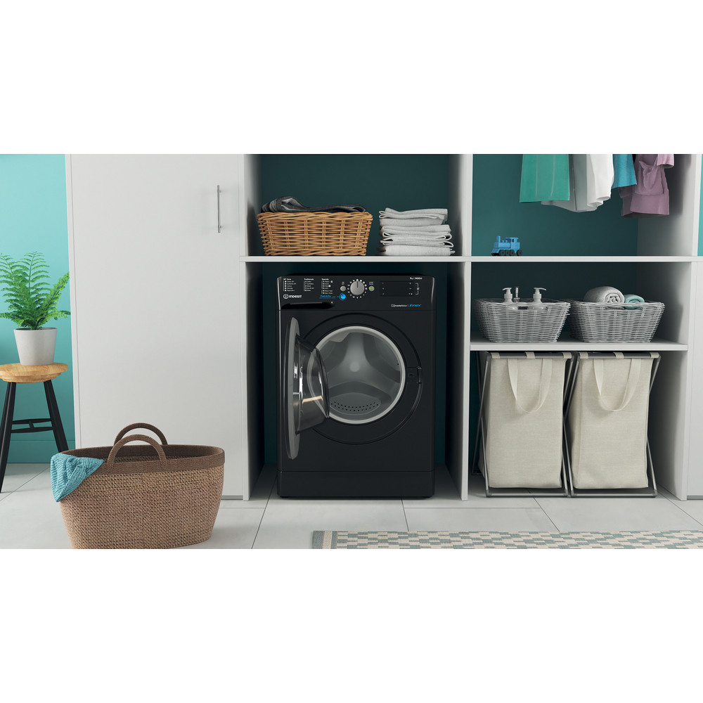 Indesit Washing machine Free-standing BWE 91483X K UK N Black Front loader D Lifestyle frontal open