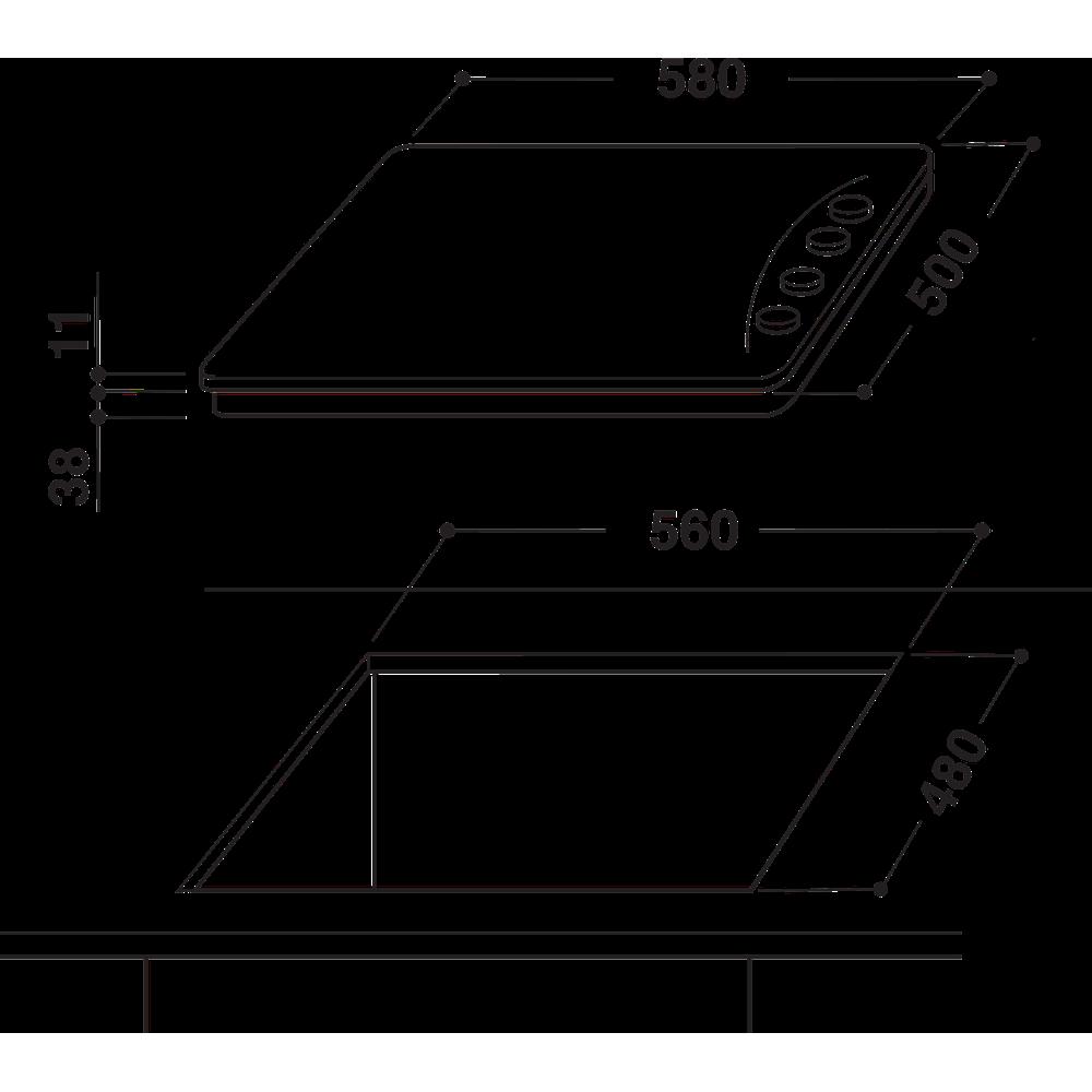 Indesit Варочная поверхность PAA 642 /I(BK) EE Черный Газовая Technical drawing