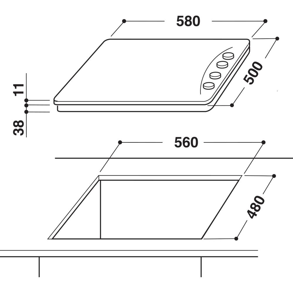Indesit Варильна поверхня PAA 642 IX/I EE Нержавіюча сталь Газова Technical drawing