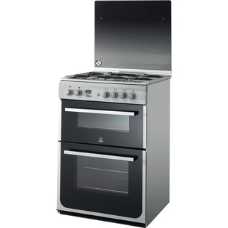 Indesit Double Cooker DD60C2G2(X) Inox A+ Enamelled Sheetmetal Perspective
