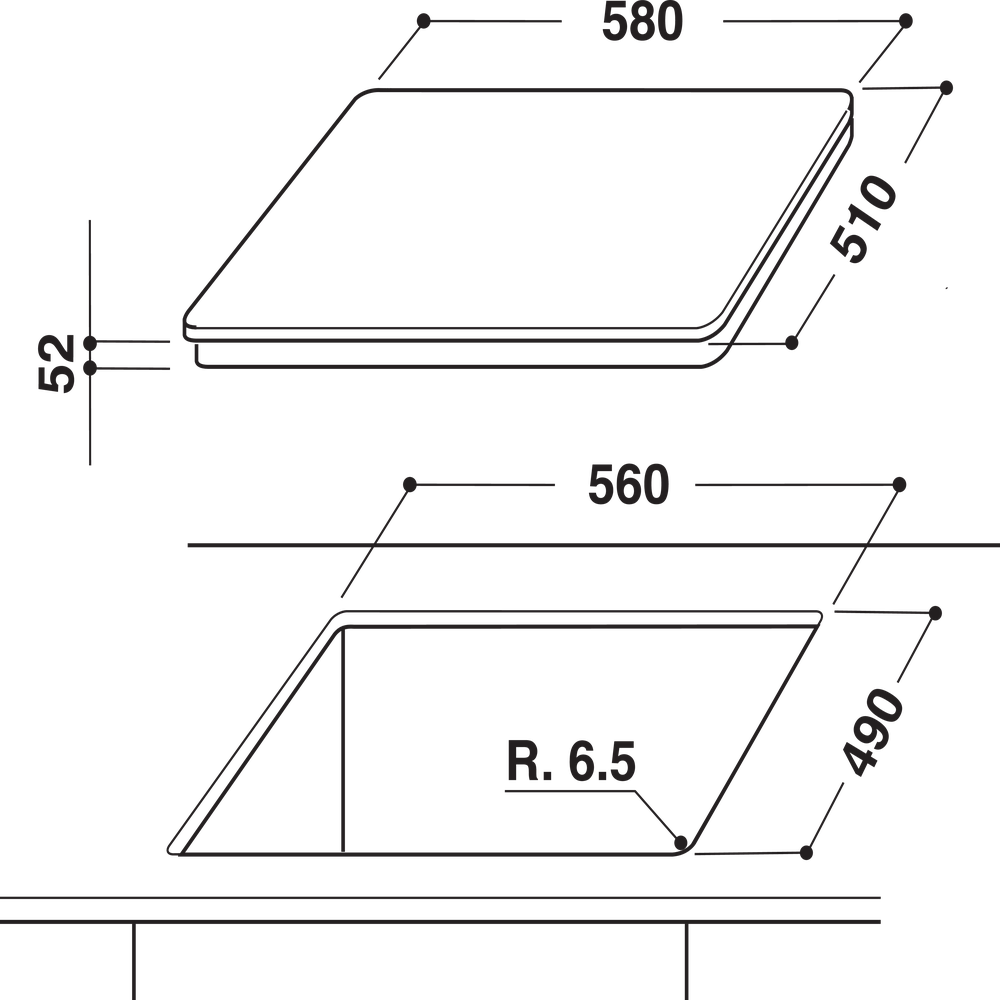 Indesit Table de cuisson IVIS 631 BL F Noir Induction vitroceramic Technical drawing
