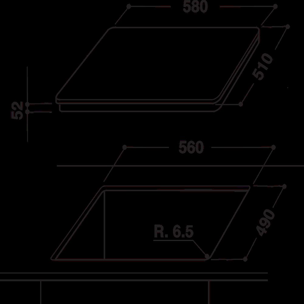 Indesit Koketopp VIA 640.1 C Svart Induction vitroceramic Technical drawing