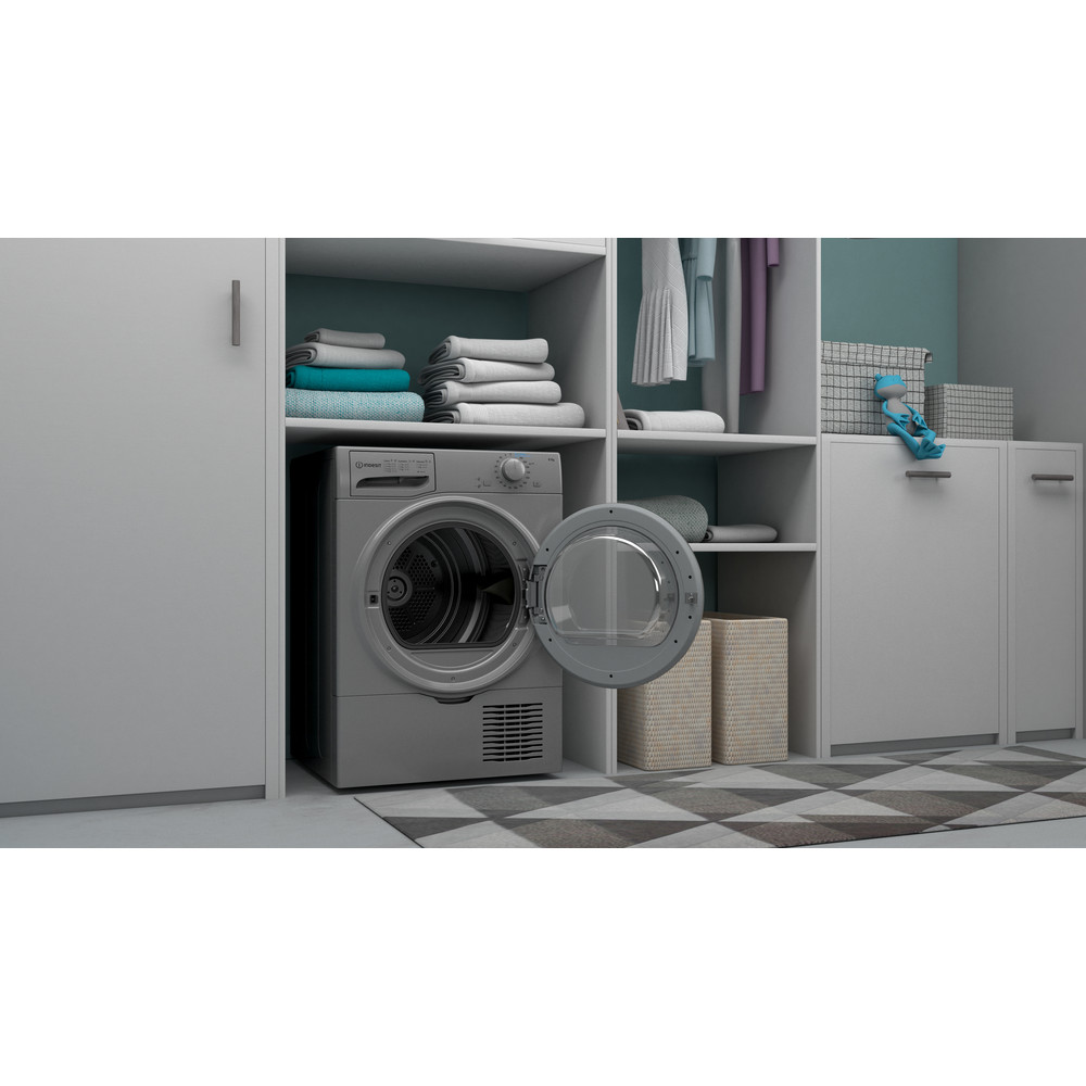 Indesit Dryer I2 D81S UK Silver Lifestyle perspective open
