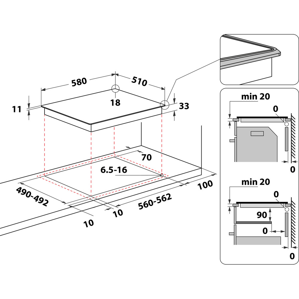 Indesit Варильна поверхня TI 60 X Нержавіюча сталь Solid Plate Technical drawing