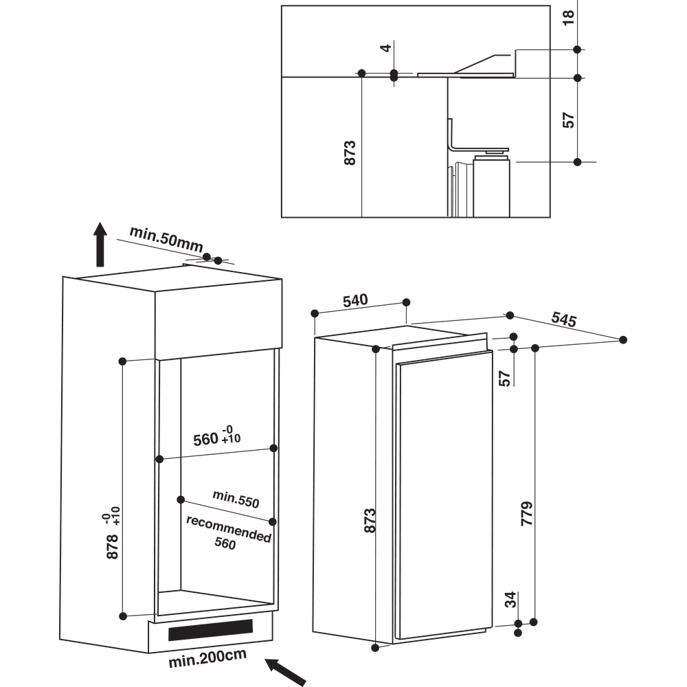 Indesit Refrigerator Built-in INS 901 AA Steel Technical drawing