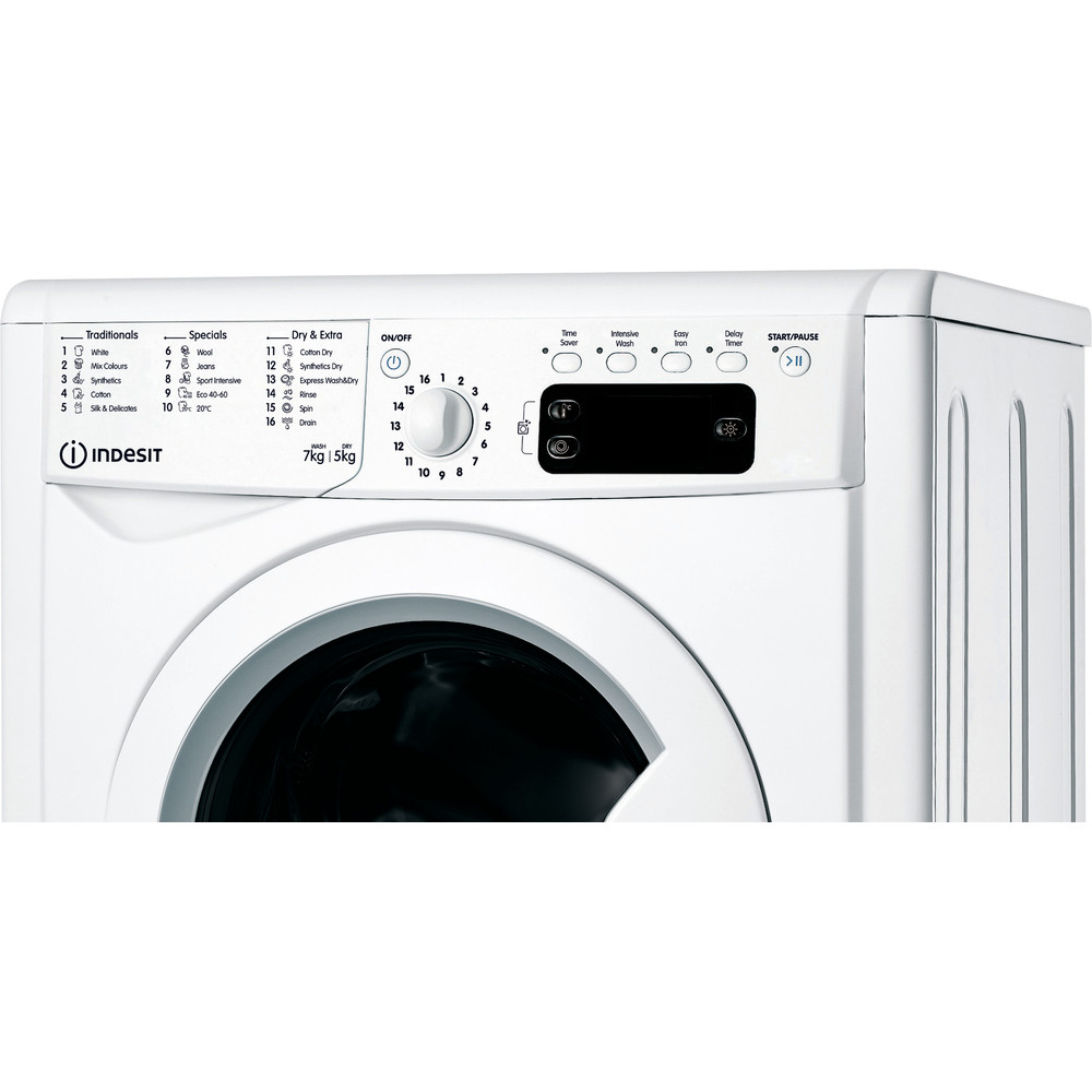 Indesit Washer dryer Free-standing IWDD 75125 UK N White Front loader Control panel