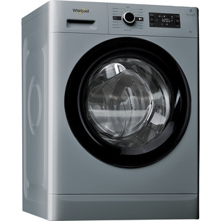 Whirlpool Washing machine Free-standing FWG81496 S UK Silver Front loader A+++ Perspective