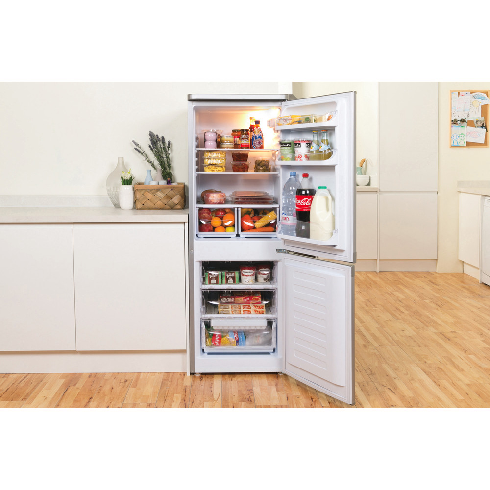 Indesit Комбиниран хладилник с камера Свободностоящи NCAA 55 NX Инокс 2 врати Lifestyle frontal open