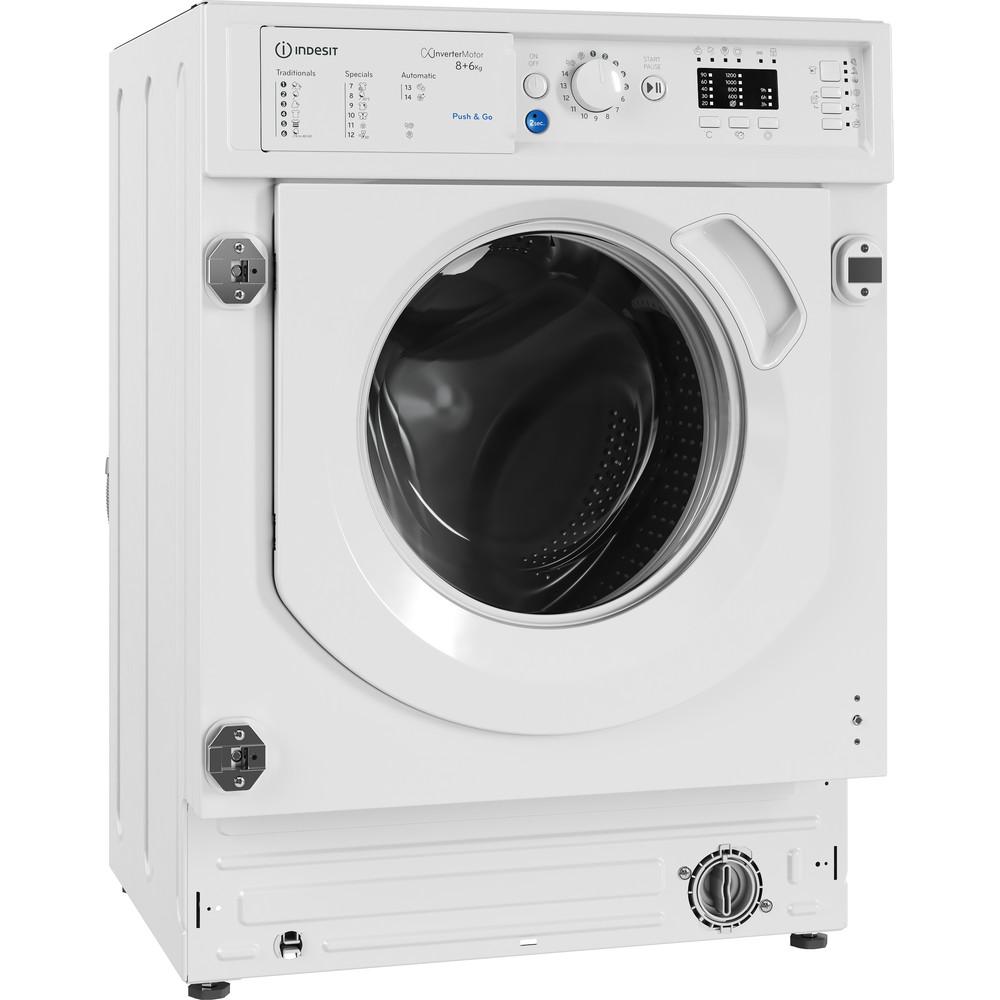 Indesit Máquina de lavar e secar roupa Encastre BI WDIL 861284 EU Branco Carga Frontal Perspective