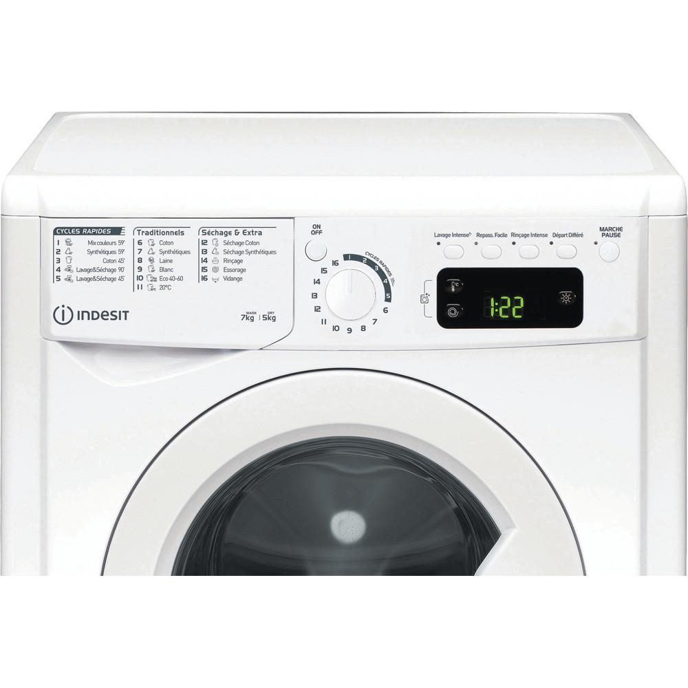 Indesit Lavante-séchante Pose-libre EWDEP751451FR N Blanc Lave-linge frontal Control panel