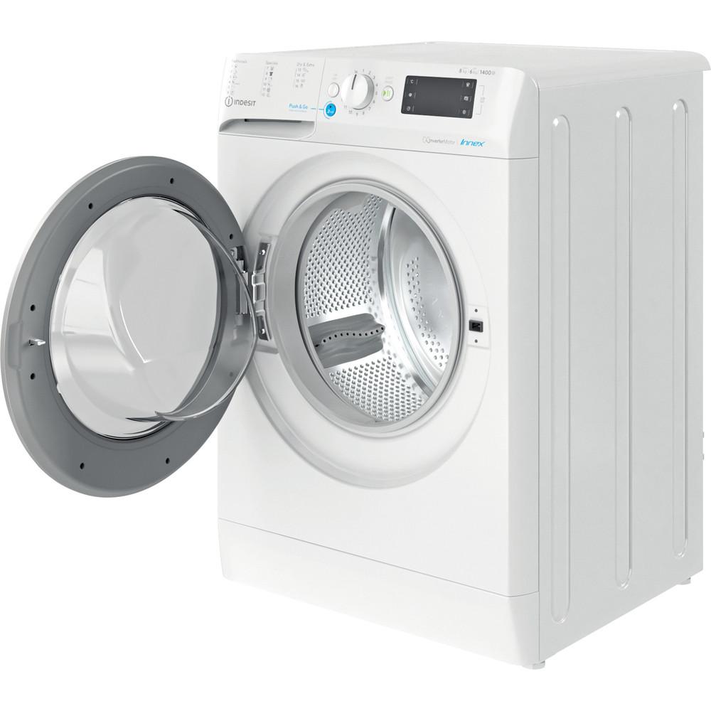 Indesit Kombineret vaskemaskine/tørretumbler Fritstående BDE 861483X WS EU N Hvid Frontbetjent Perspective open