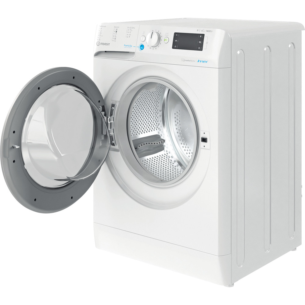 Indesit Vaskemaskin med tørketrommel Frittstående BDE 861483X WS EU N Hvit Front loader Perspective open
