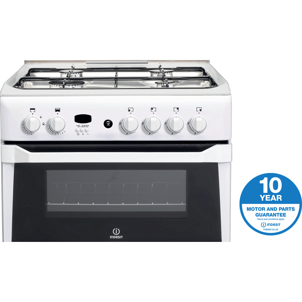 Indesit Double Cooker ID60G2(W) White A+ Enamelled Sheetmetal Award