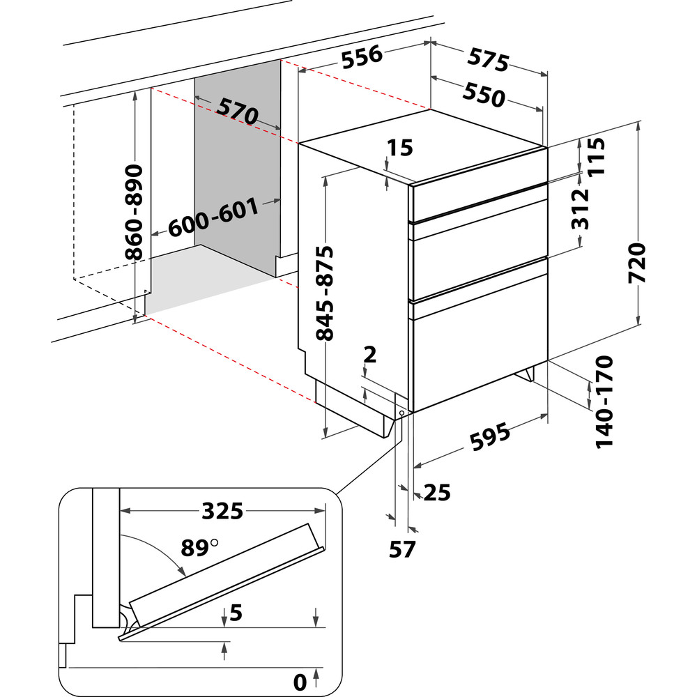 Indesit Double oven IDU 6340 IX Inox B Technical drawing