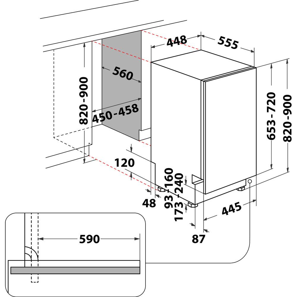 Indesit Geschirrspüler Einbau DSIO 3T224 CE Vollintegrierbar E Technical drawing
