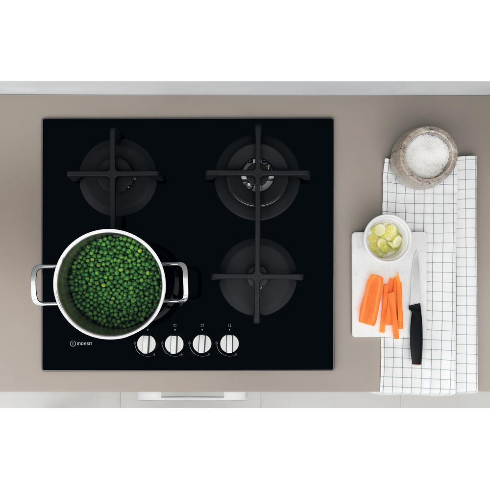 Indesit Table de cuisson ING 62T/BK Noir GAS Lifestyle frontal