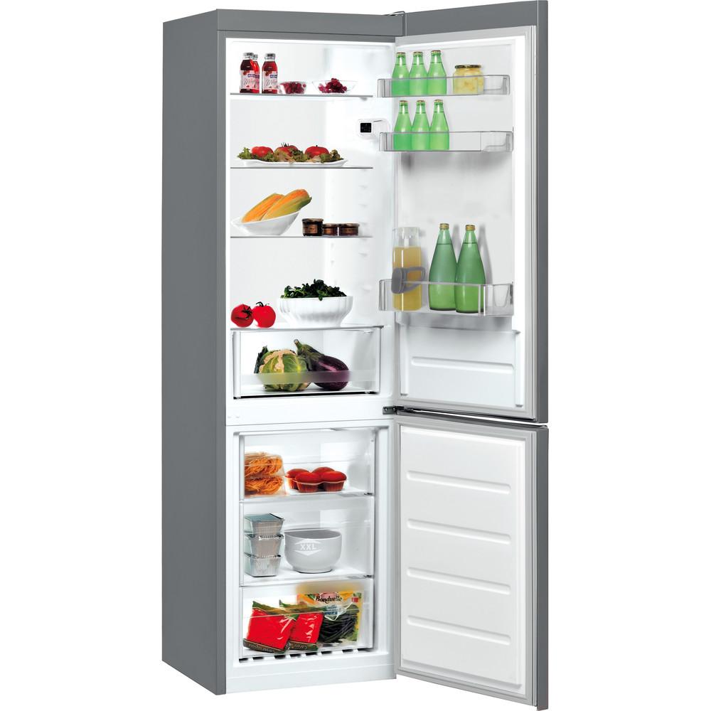 Indesit Hűtő/fagyasztó kombináció Szabadonálló LI8 SN2E X Ezüst 2 doors Perspective open