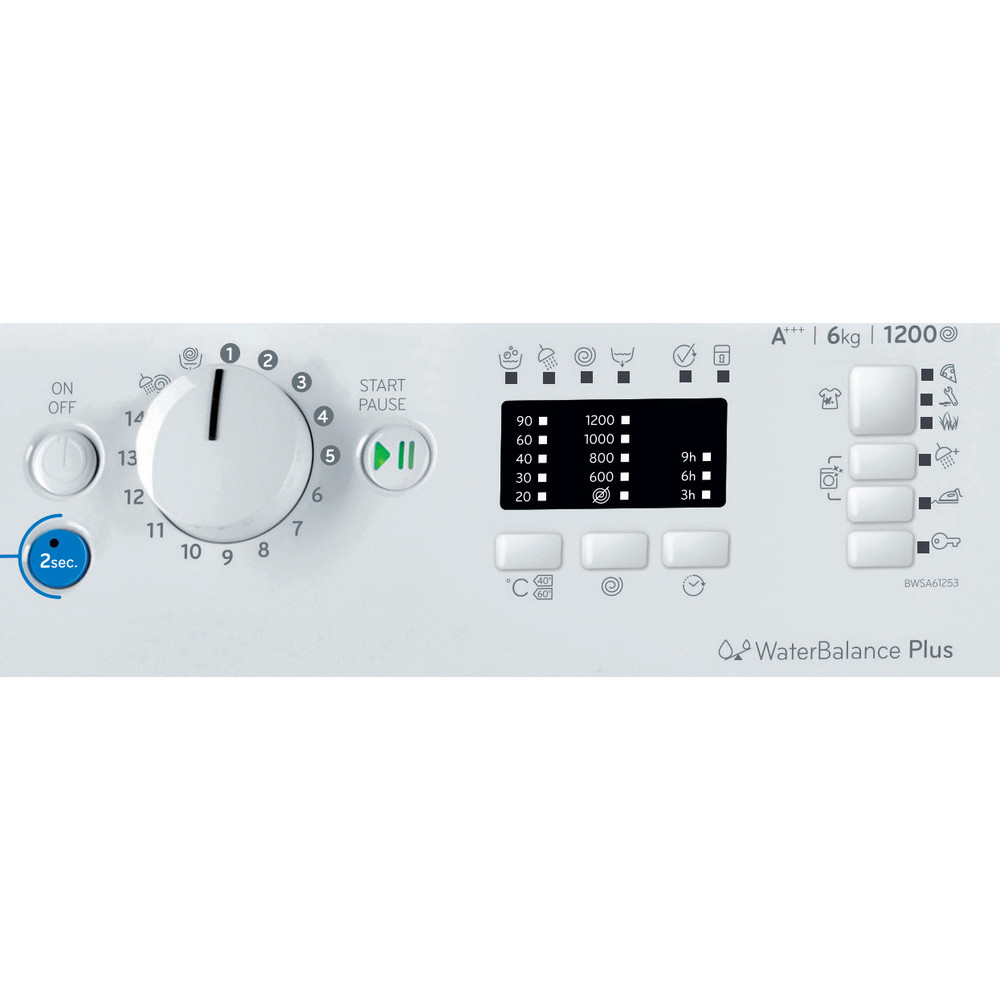 Indesit Práčka Voľne stojace BWSA 61253 W EU Biela Front loader A+++ Control panel