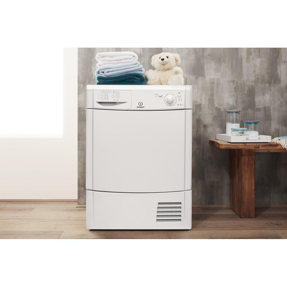 Indesit Dryer IDC 8T3 B (UK) White Lifestyle frontal