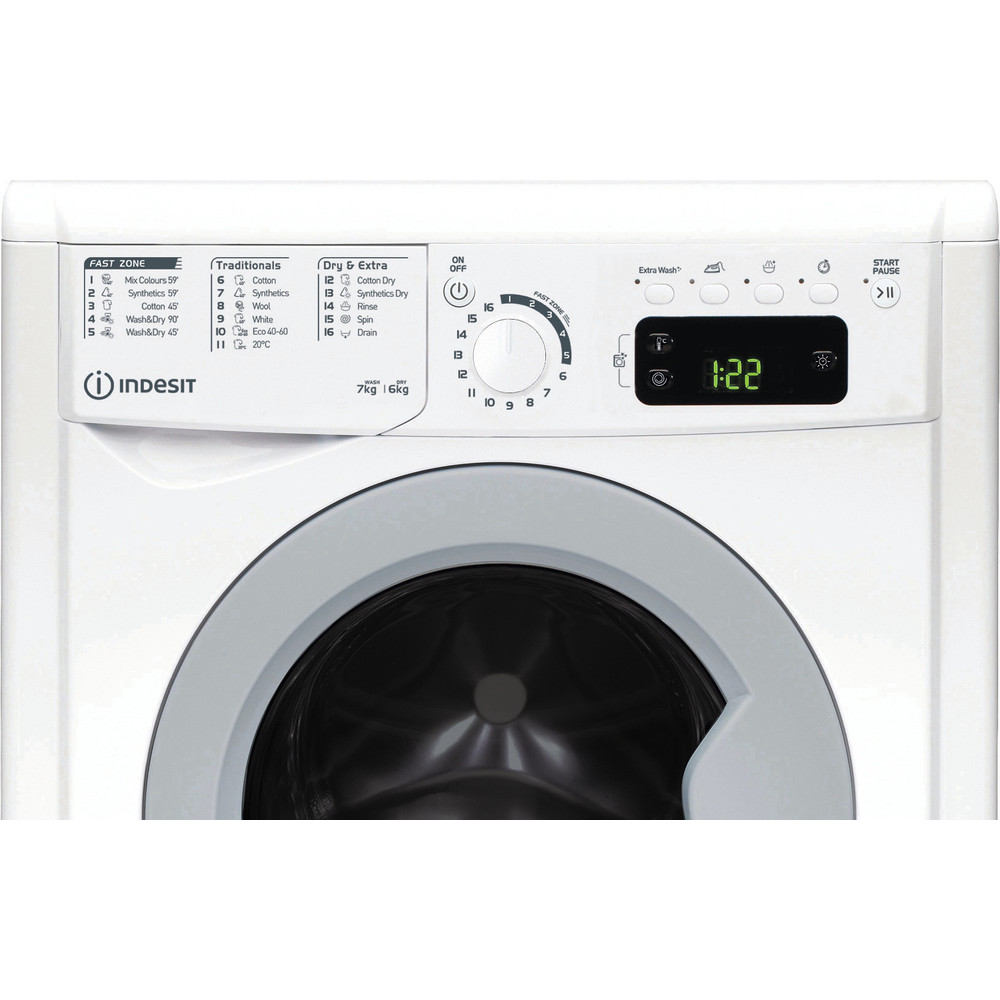 Indesit Perilica i sušilica Samostojeći EWDE 761483 WS EE N Bijela Prednje punjenje Control panel