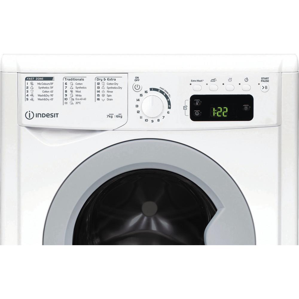 Indesit Kombineret vaskemaskine/tørretumbler Fritstående EWDE 761483 WS EE N Hvid Frontbetjent Control panel