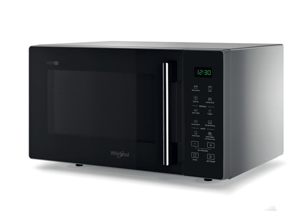 Whirlpool Microwave Samostojni MWP 253 SB Silver Black Elektronsko 25 Mikrovalovna pečica z grilom 900 Perspective