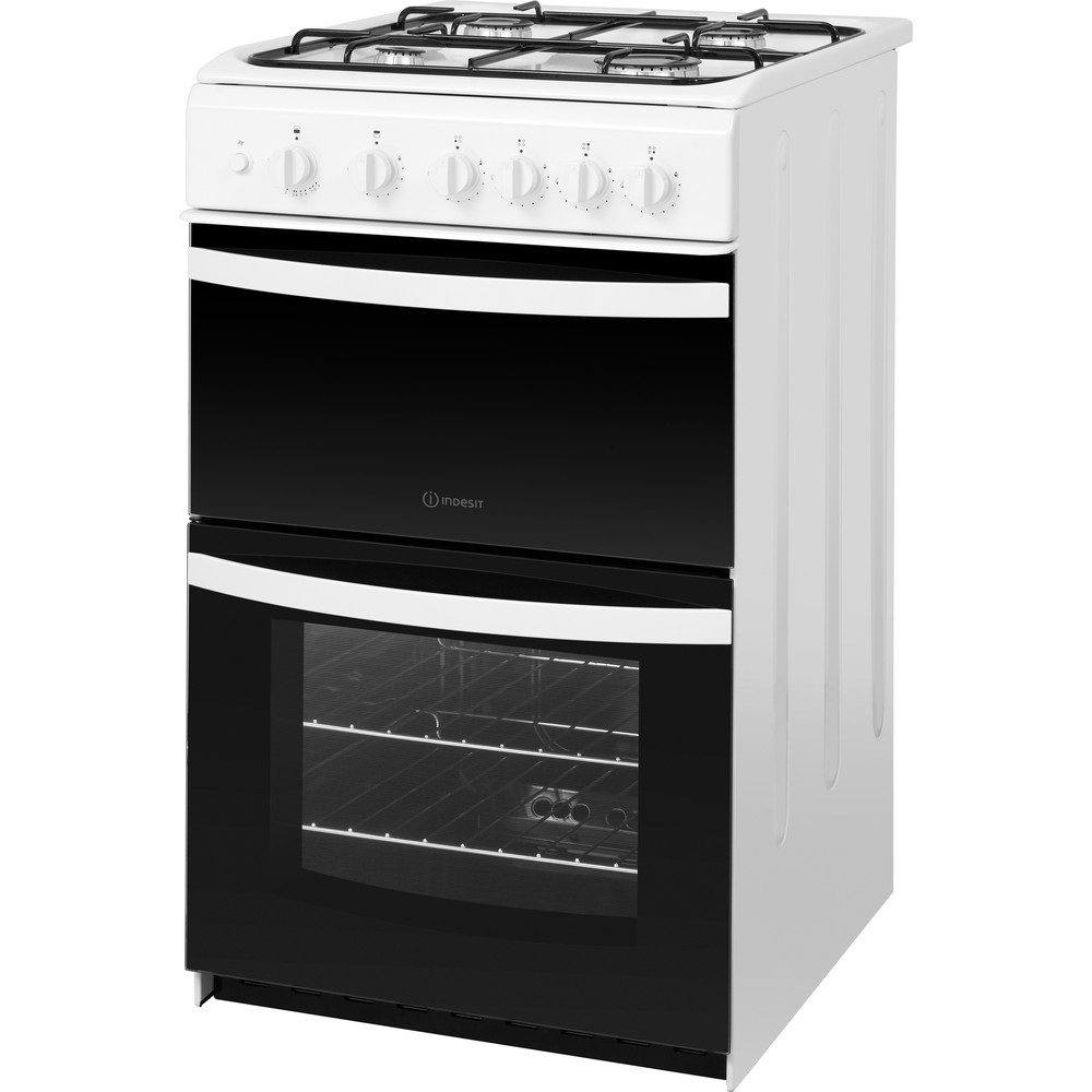 Indesit Double Cooker ID5G00KMW/UK White A+ Enamelled Sheetmetal Perspective
