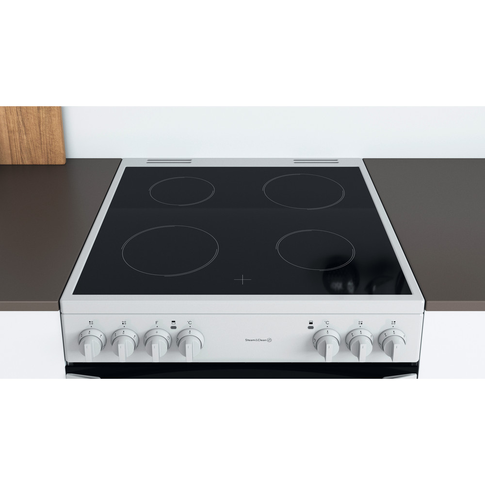 Indesit Double Cooker ID67V9KMW/UK White A Lifestyle frontal top down