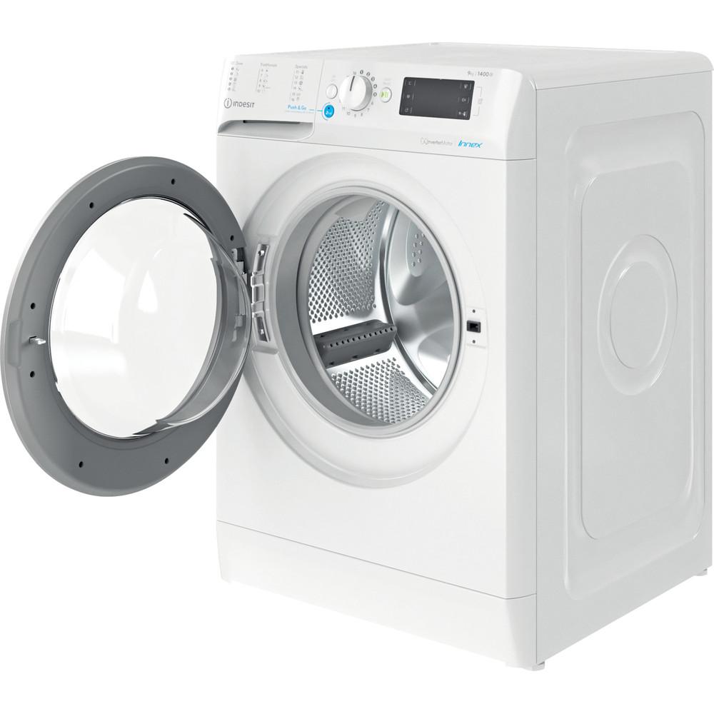 Indesit Vaskemaskine Fritstående BWE 91484X WS EU N Hvid Frontbetjent C Perspective open