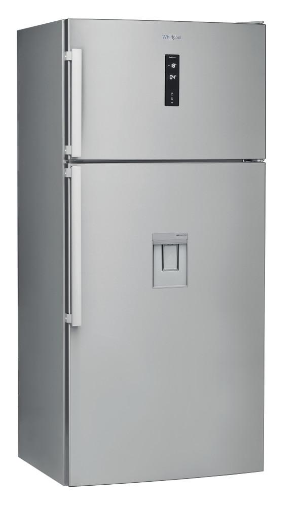 Whirlpool Combiné réfrigérateur congélateur Pose-libre W84TE 72 X AQUA Inox 2 portes Perspective