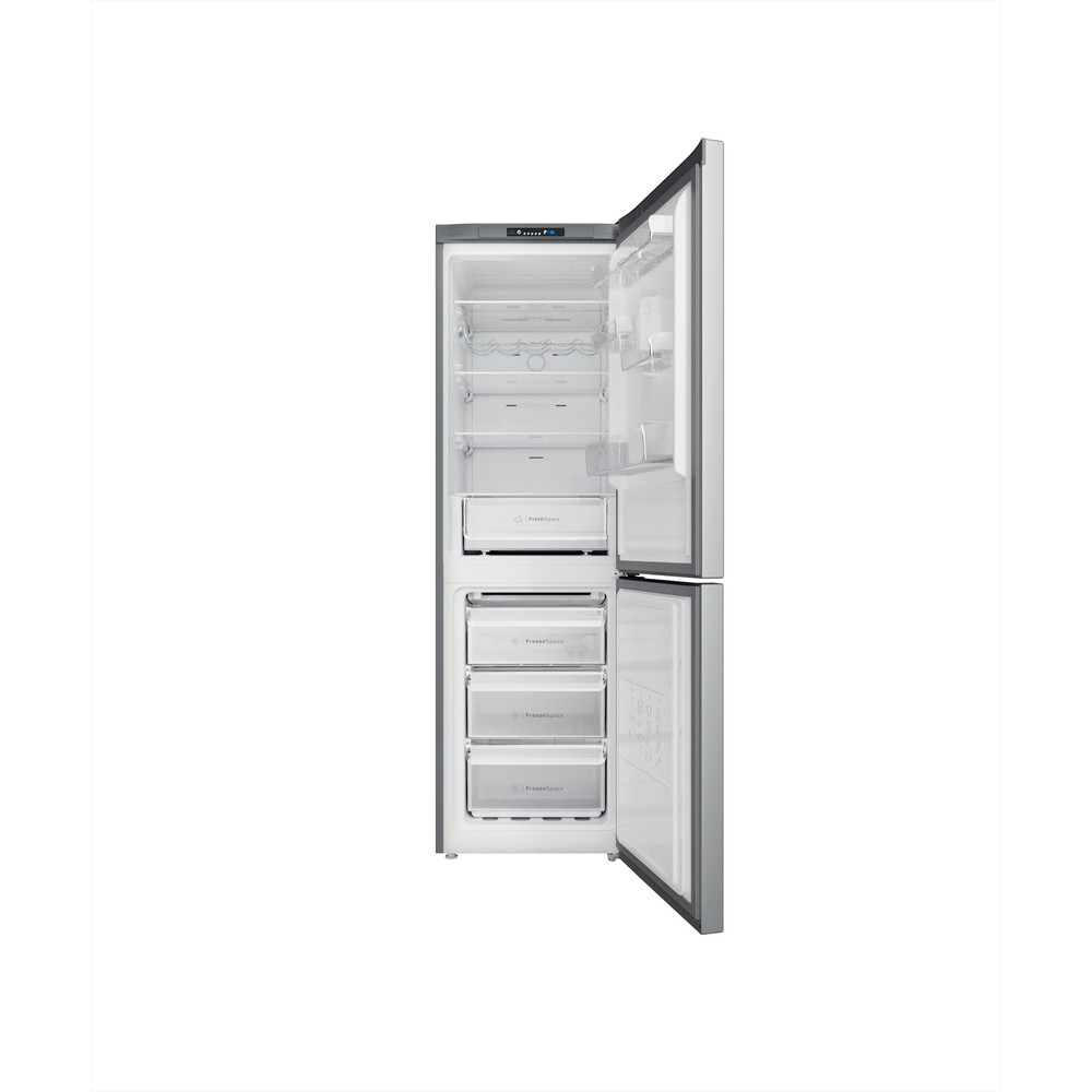 Indesit Køleskab/fryser kombination Fritstående INFC8 TI21X Rustfrit stål 2 doors Frontal open
