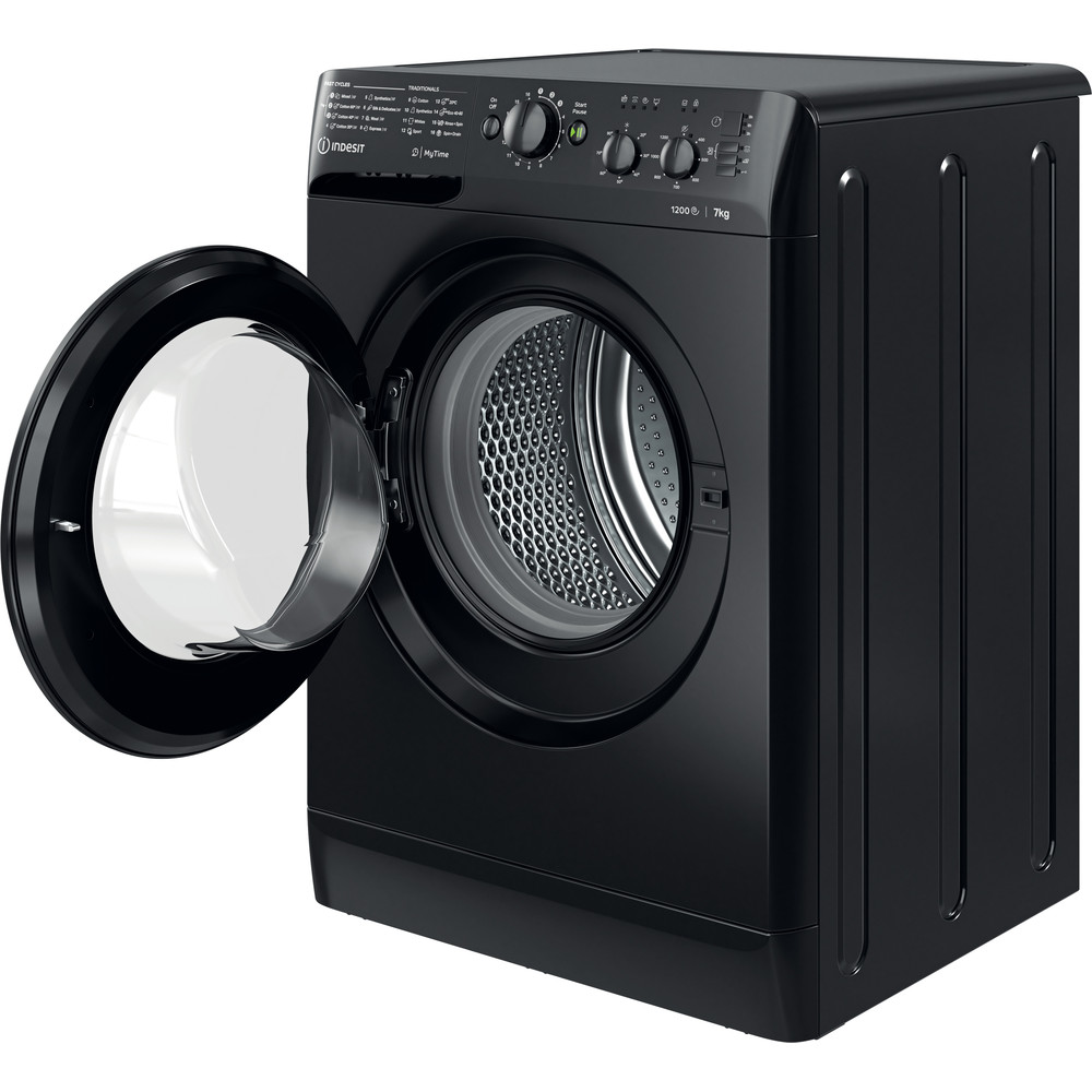 Indesit Washing machine Free-standing MTWC 71252 K UK Black Front loader A++ Perspective open