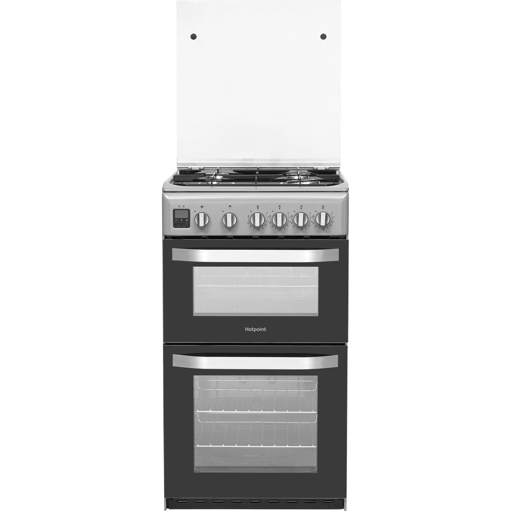Hotpoint Double Cooker HD5G00CCSS/UK Silver A+ Enamelled Sheetmetal Frontal