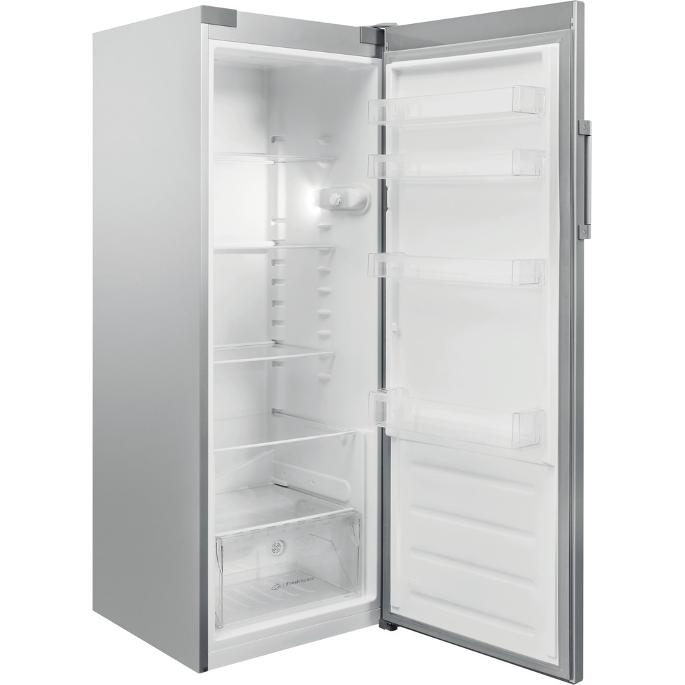 Indesit Kühlschrank Freistehend SI6 1 S Silber Perspective open
