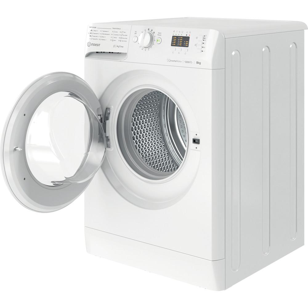 Indsit Maşină de spălat rufe Independent MTWA 81283 W EE Alb Încărcare frontală A +++ Perspective open