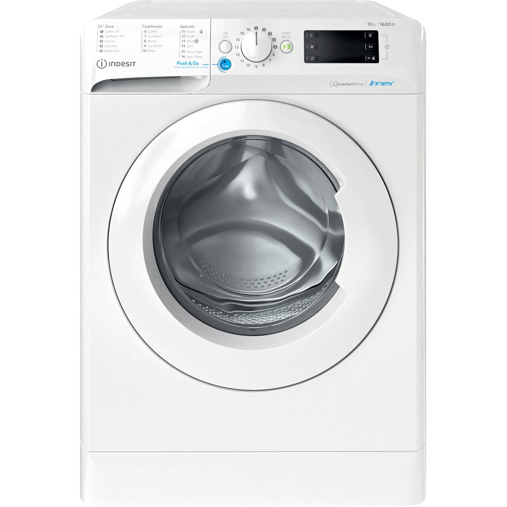 Indesit Washing machine Free-standing BWE 101683X W UK N White Front loader D Frontal