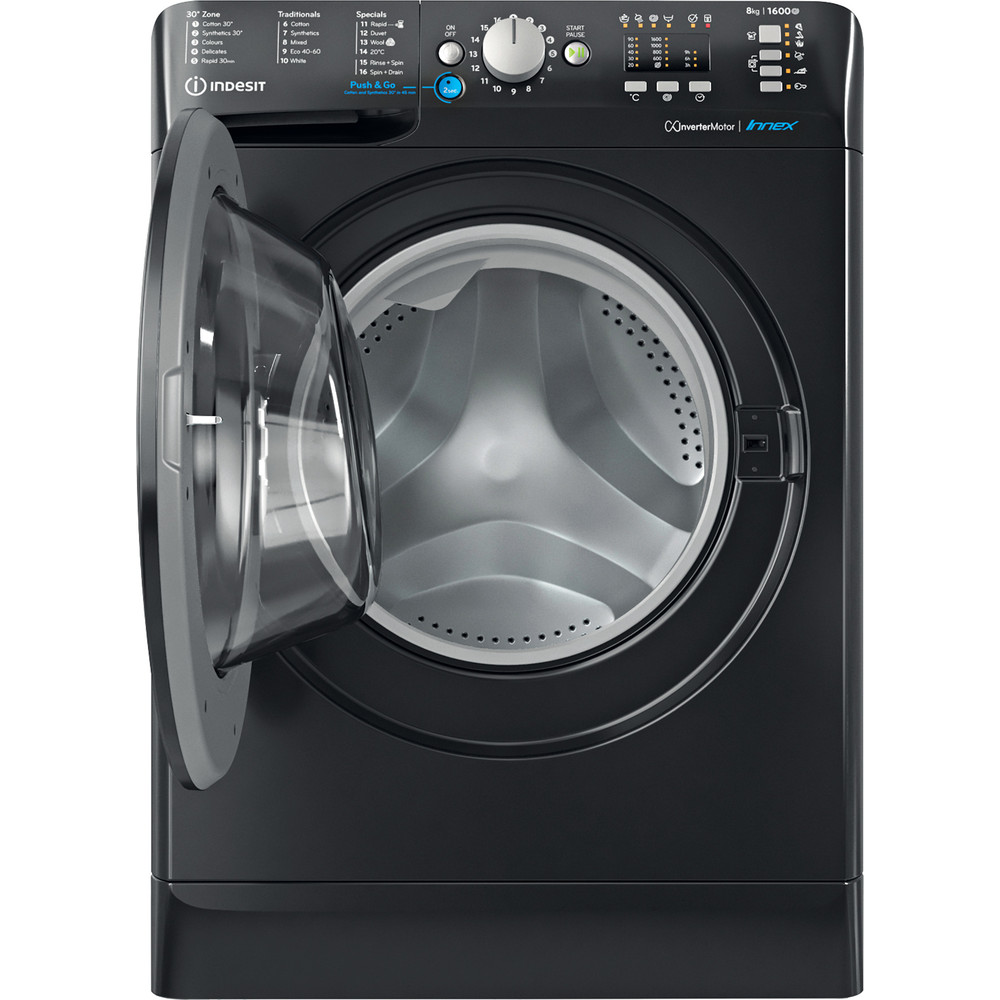Indesit Washing machine Free-standing BWA 81683X K UK N Black Front loader D Frontal open