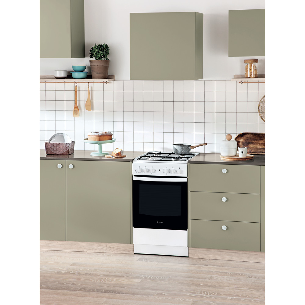 Indesit Cucina con forno a doppia cavità IS5G4KHW/EU Bianco GAS Lifestyle perspective